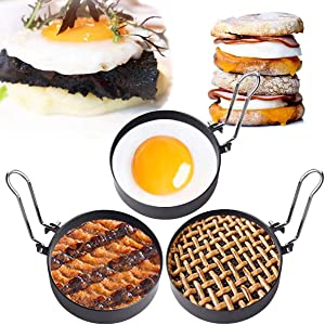 Egg Ring,3 Packs Egg Pancake Maker Mold Crumpet Rings Non-Stick Stainless Steel English Muffin Ring Maker Egg Pancaker Molds Egg Cooker Mold,Circle Shaper Egg Rings for Fried Egg,Pancakes,Sandwiches