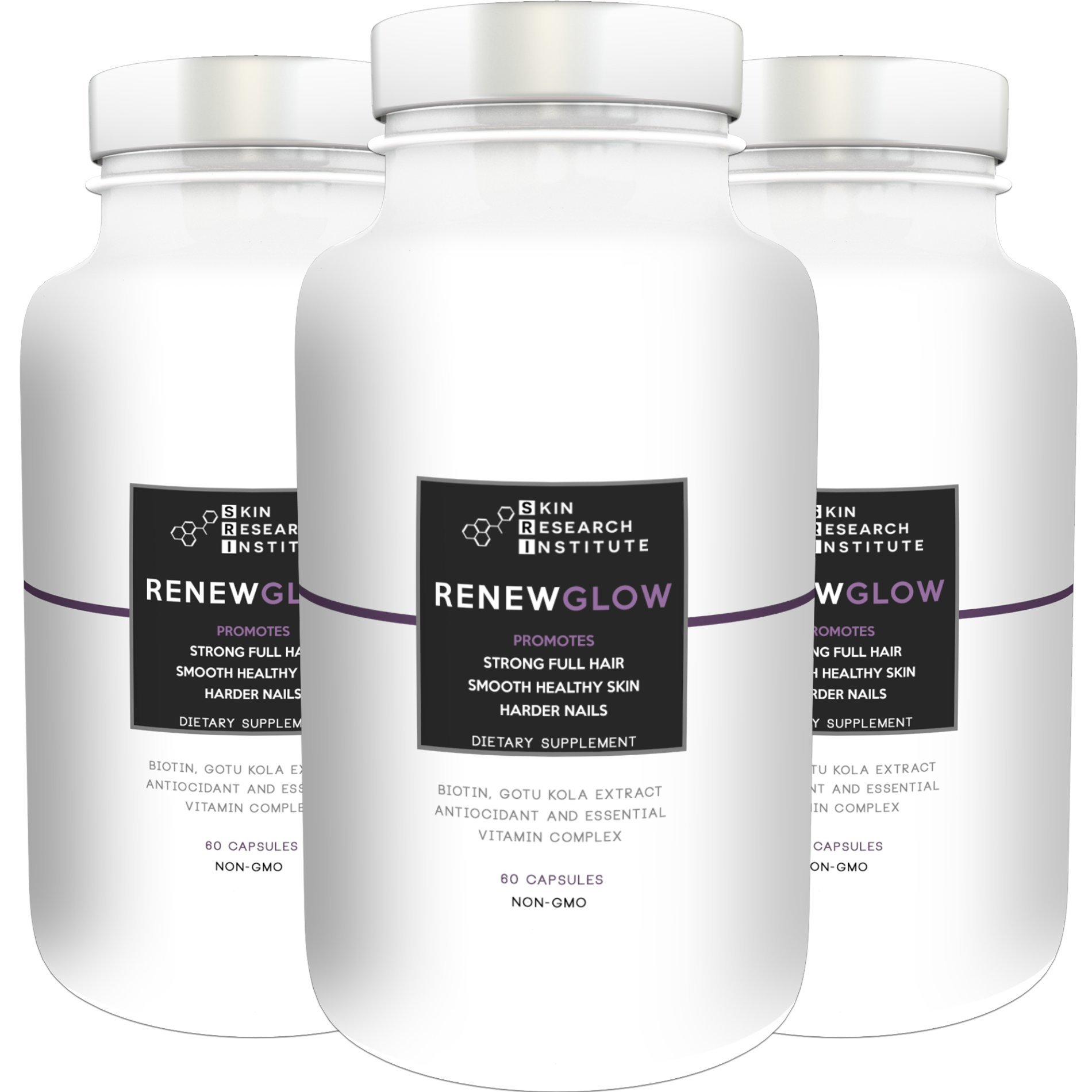 Renewglow - Anti Aging Supplement Fights Against Biotin Deficiency, Free Radicals and Prevents Oxidation to Restore Hair and Skin for A Healthy Glow (3 - Pack)
