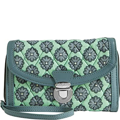 4079da75d124 Vera Bradley Women s Ultimate Wristlet Nomadic Blossoms Gray Clutch   Handbags  Amazon.com