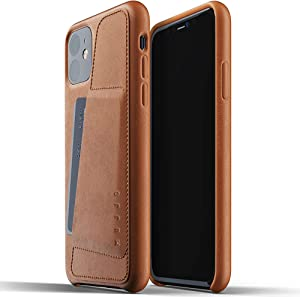 Mujjo Full Leather Wallet Case for Apple iPhone 11 | 2-3 Card Holder Pocket | Premium Soft Supple Leather, Unique Natural Aging Effect (Tan)