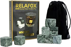 Whiskey Stones Chilling Ice Cubes, Set of 8 Whiskey Rocks Chilling Stones 100% Pure Soapstone For Cold Wine Whiskey Beverages With Velvet Gift Pouch Great Gift Idea (Green)