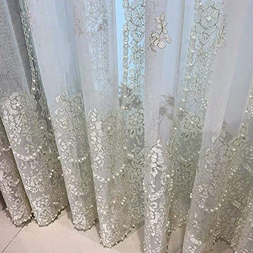 pureaqu Luxury Beaded Embroidered Sheer White Curtains 63 Inches Length