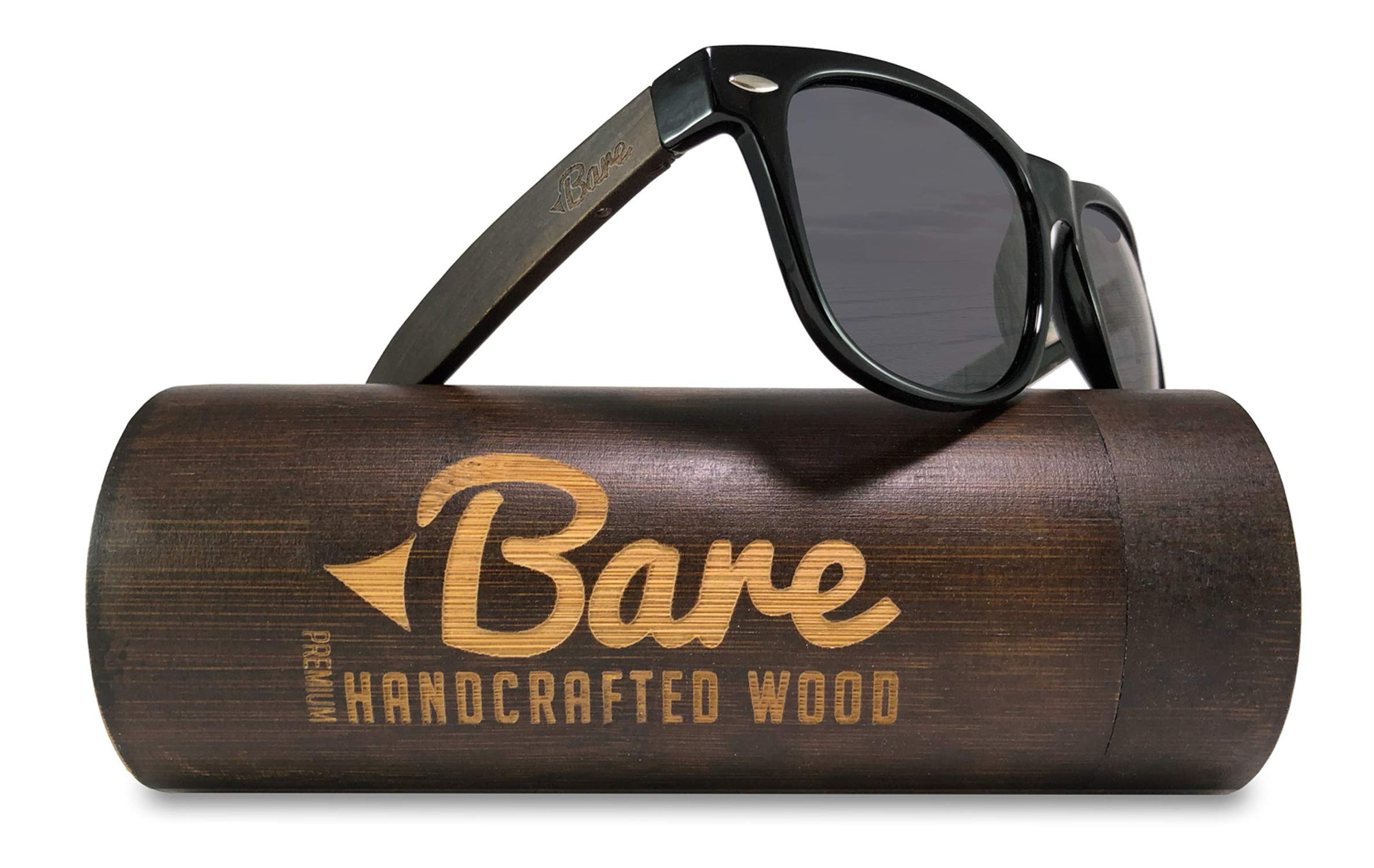 Bare Wood Sunglasses Polarized - 100% UV400 Polarized Lens - Premium Real Wood Quality with Case (Smoke Black)
