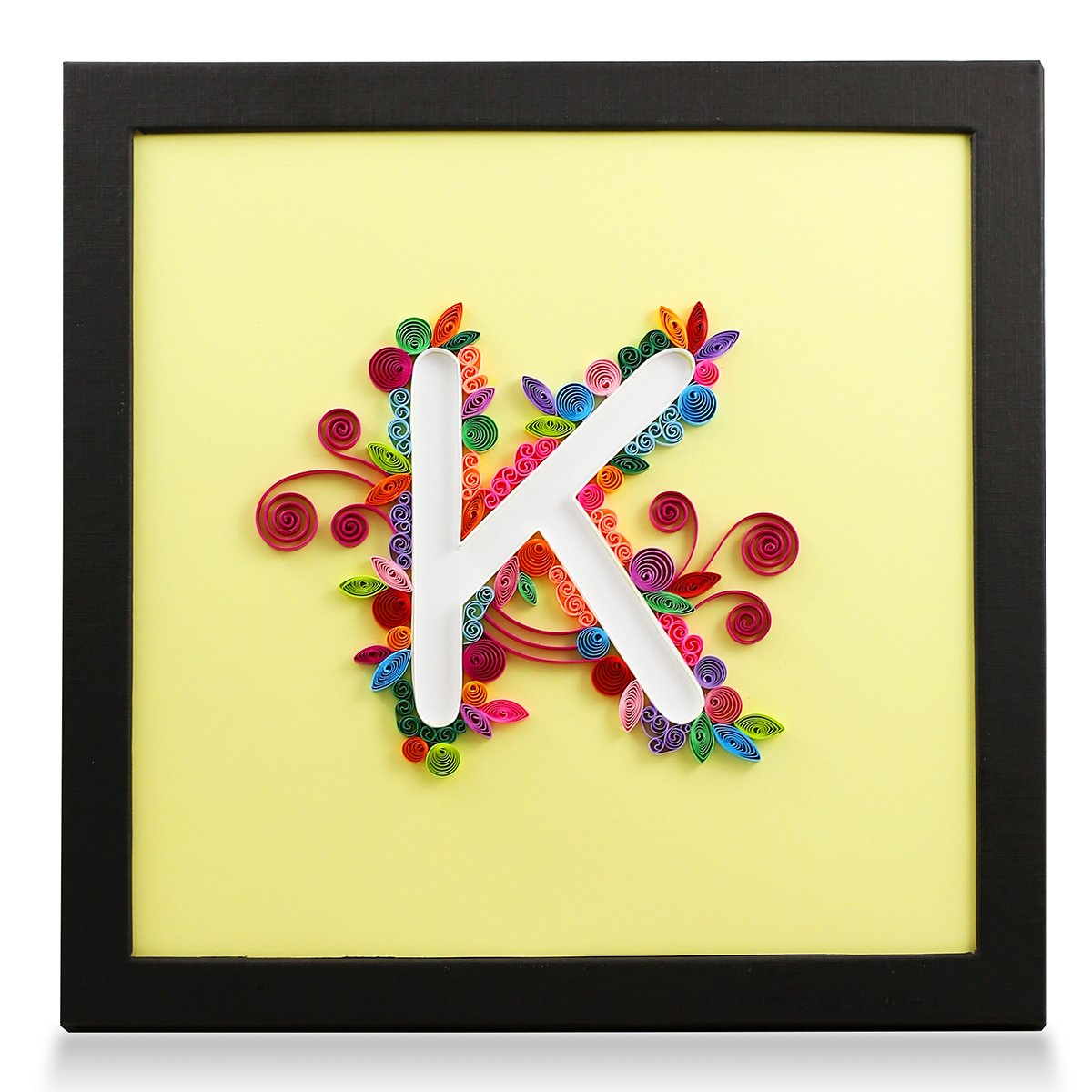 Amazon.com: Letter K Handmade Paper Quilling Artwork, Framed 3D Wall ...