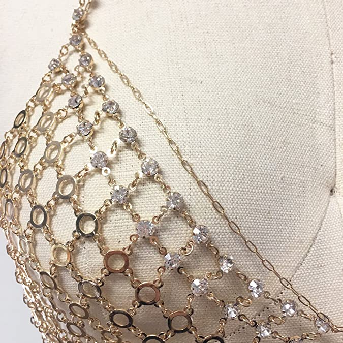 61a48603dd Amazon.com  Chainmail rhinestone bra bikini chain bralette (GOLD)  Jewelry