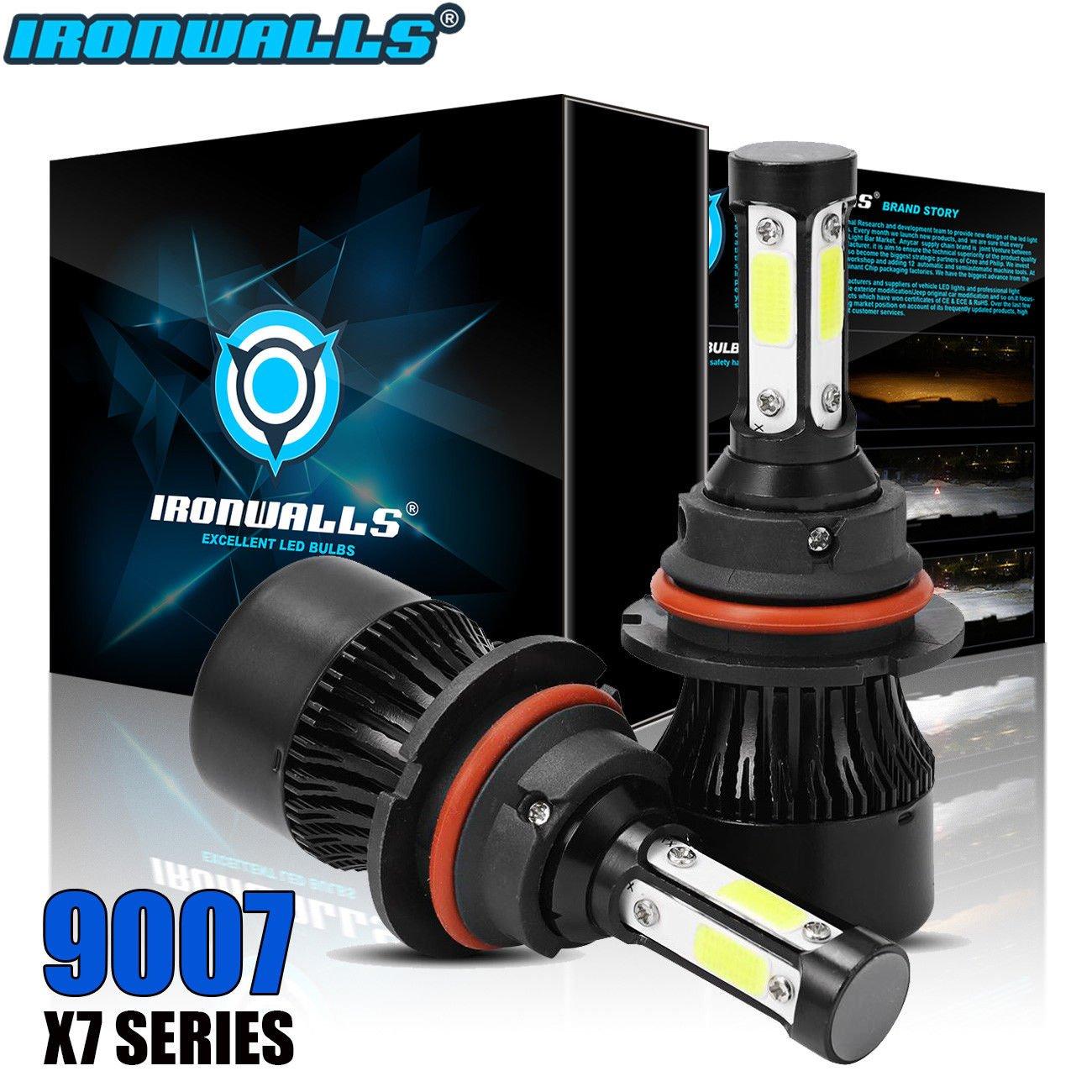 IRONWALLS F-X7 Series 2PCS 9007/HB5 LED Headlight Bulbs All-in-One Conversion Kit Fog Lights 4 sides 72W 8000LM 6500K Super Bright White COB Chips