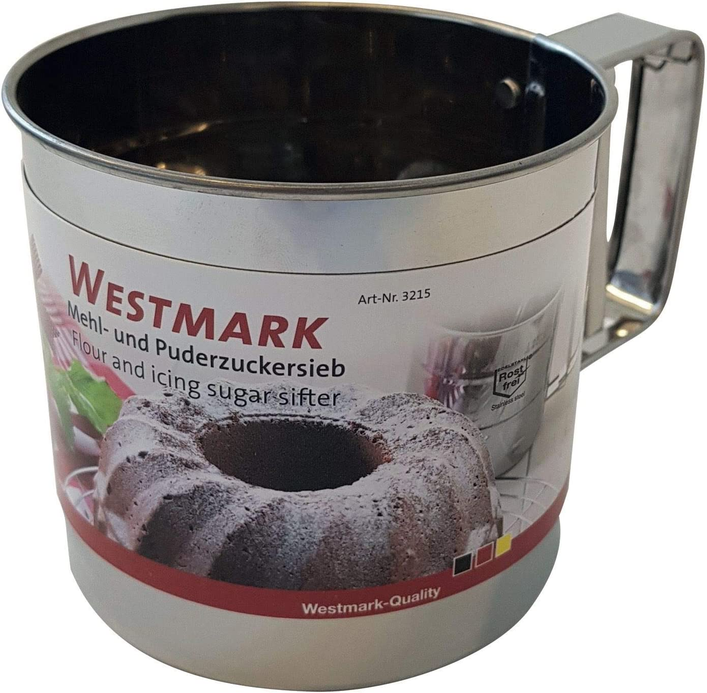 Westmark Mehl- und Puderzuckersieb mit Griff Kunststoff 32142270 F/ür 250 Gramm Mehl//Puderzucker Wei/ß//Rot