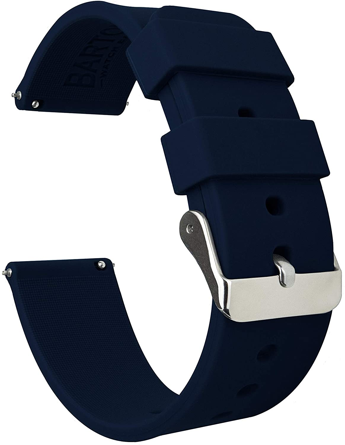 BARTON Watch Bands - Soft Silicone Quick Release Straps - Choose Color & Width - 16mm, 18mm, 20mm, 22mm, 24mm - Silky Soft Rubber Watch Bands