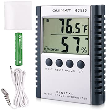 Quimat Termómetro Higrómetro Digital Interior Monitor de Humedad Termohigrómetro Digital LCD Pantalla Temperatura Interior/Exterior