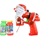 Flashing Santa Bubble Blaster Gun with 2 Bottles of Bubble Fluid | Exciting Light Up and Sound Effects | Mess-Free Bubble Blowing Guns for Kids | Great Festive Holiday Toy & Christmas Stocking Stuffer
