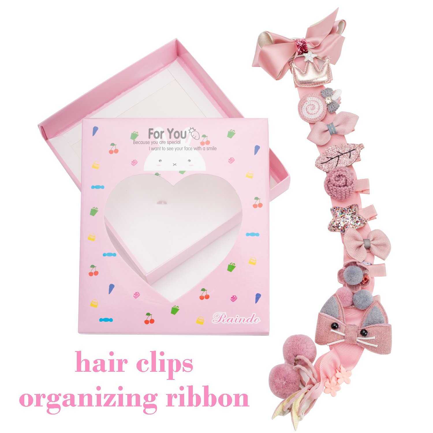 18pcs Toddler Girl Hair Clips Baby Kids Bowknot Barrette Hair Band Birthday Gift (Deep Pink) by handrong (Image #3)