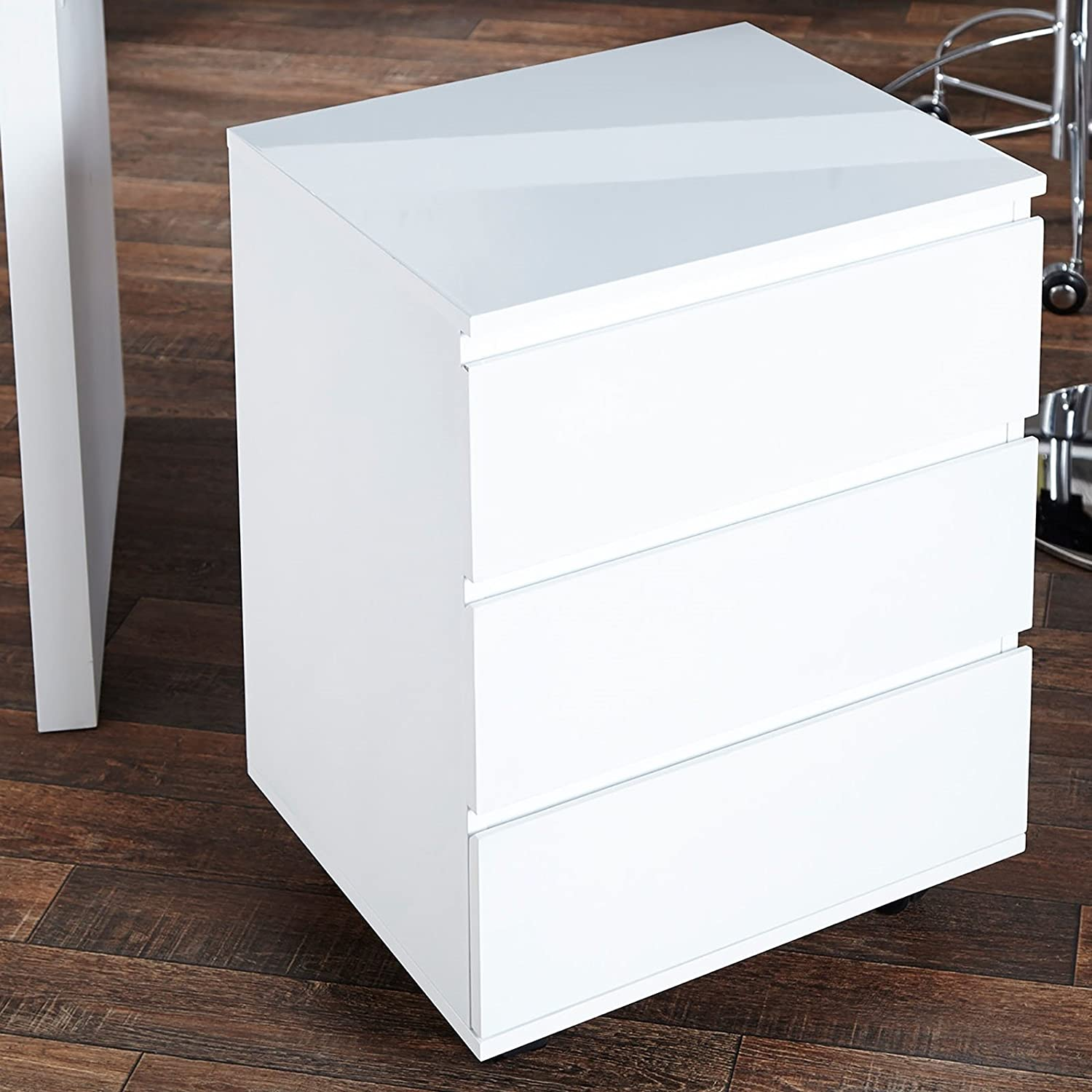 DESIGN DELIGHTS MOBILE FILING DRAWER CABINET MOVE for office highgloss white XTRADEFACTORY GMBH