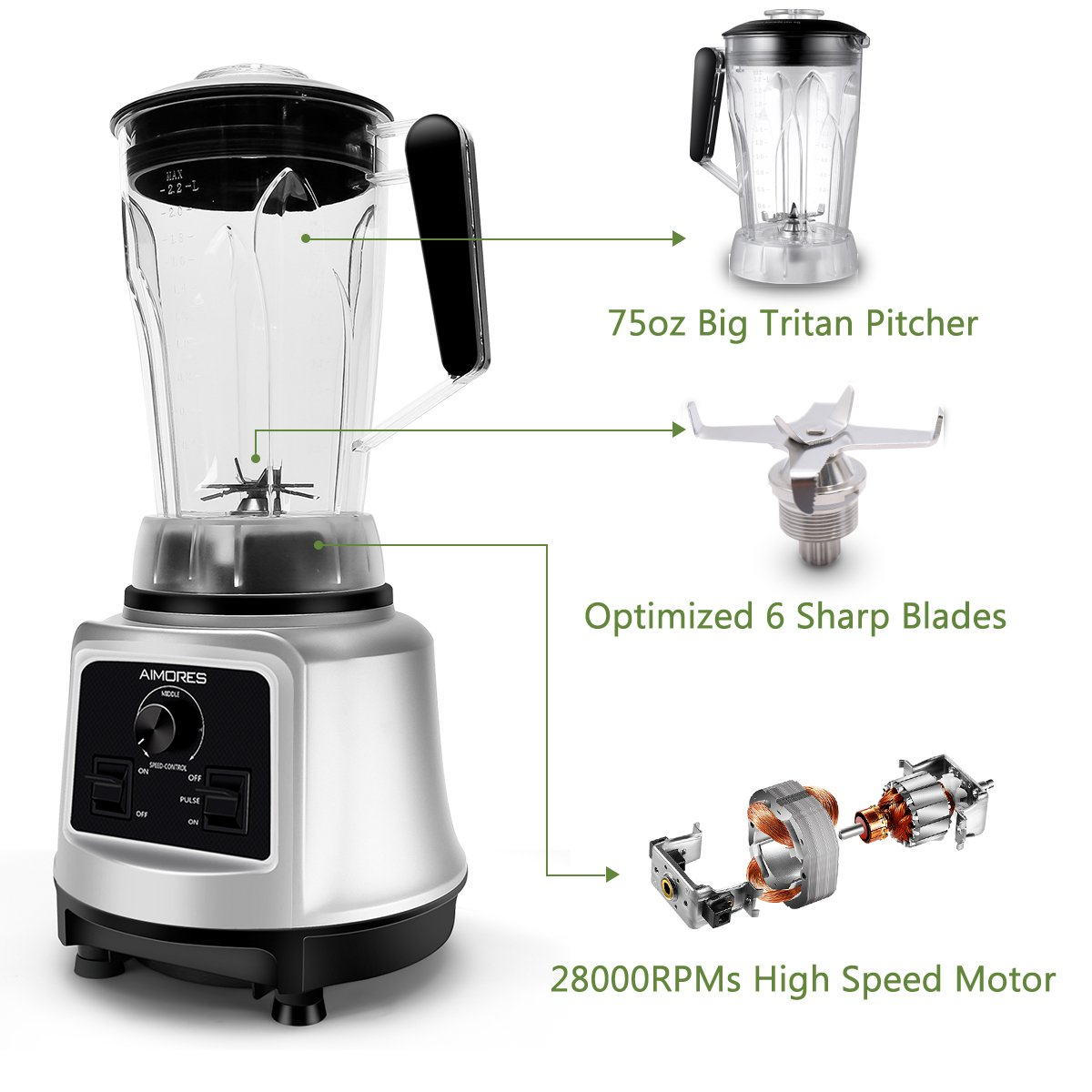 Professional Smoothie Blender Aimores | 750z High Speed Juicer, Ice Cream Maker | Optimized 6 Sharp Blades | Auto Clean & Simple Control | w/ Recipe & Tamper | ETL & FDA Certified (Silver) by ISUN (Image #4)