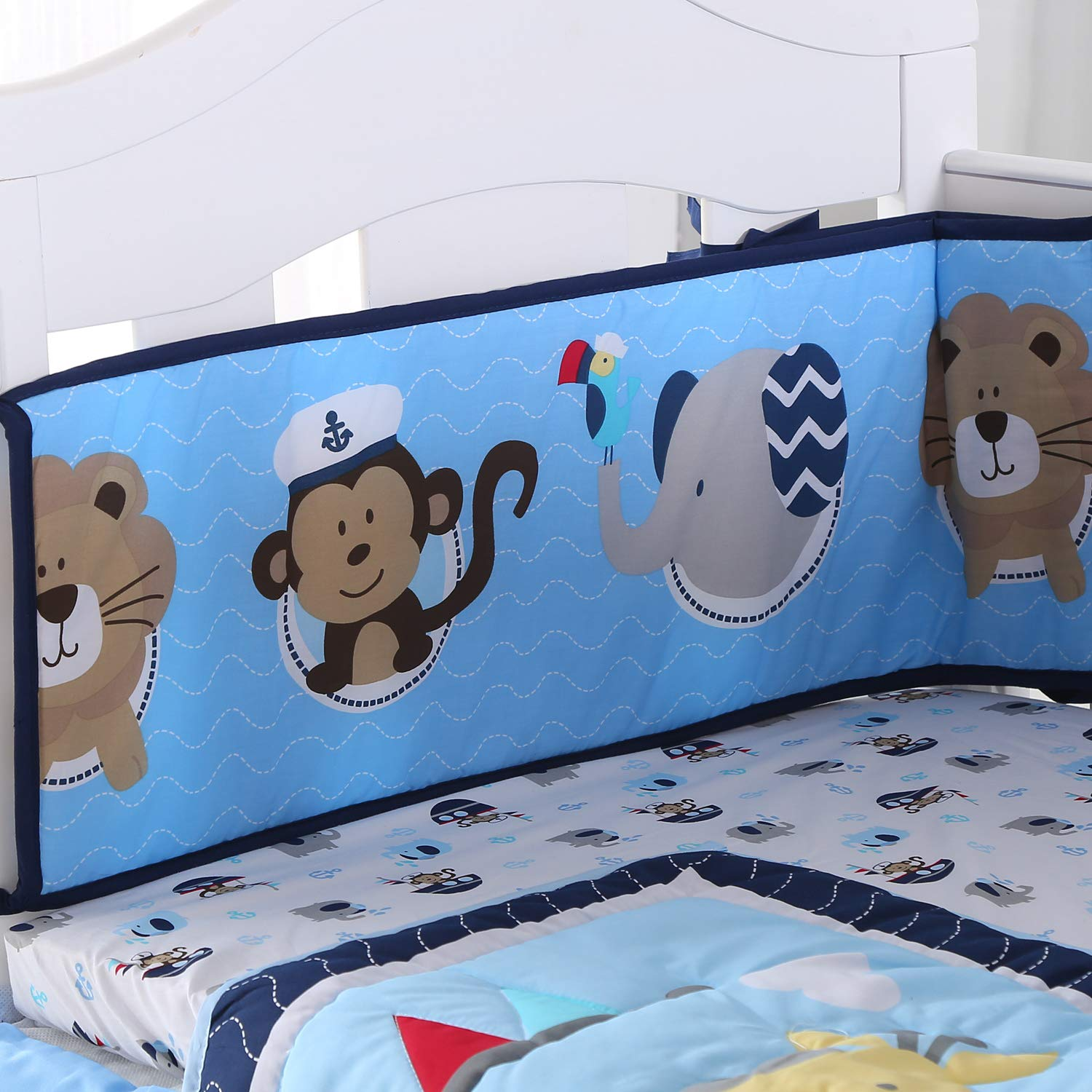 Wowelife Crib Bumpers Blue Monkey Elephant Lion Baby Crib Bumper Pads for Baby Boys and Girls(Animal Party)