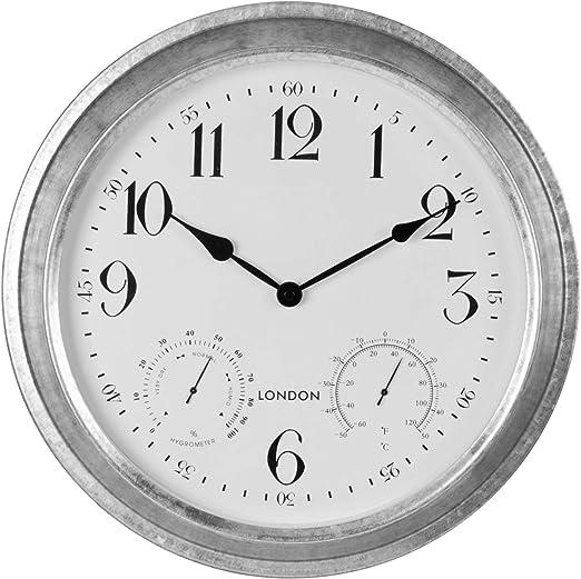 IDWD - Reloj de Pared para jardín con Esfera de Temperatura y Humedad (40 cm): Amazon.es: Jardín