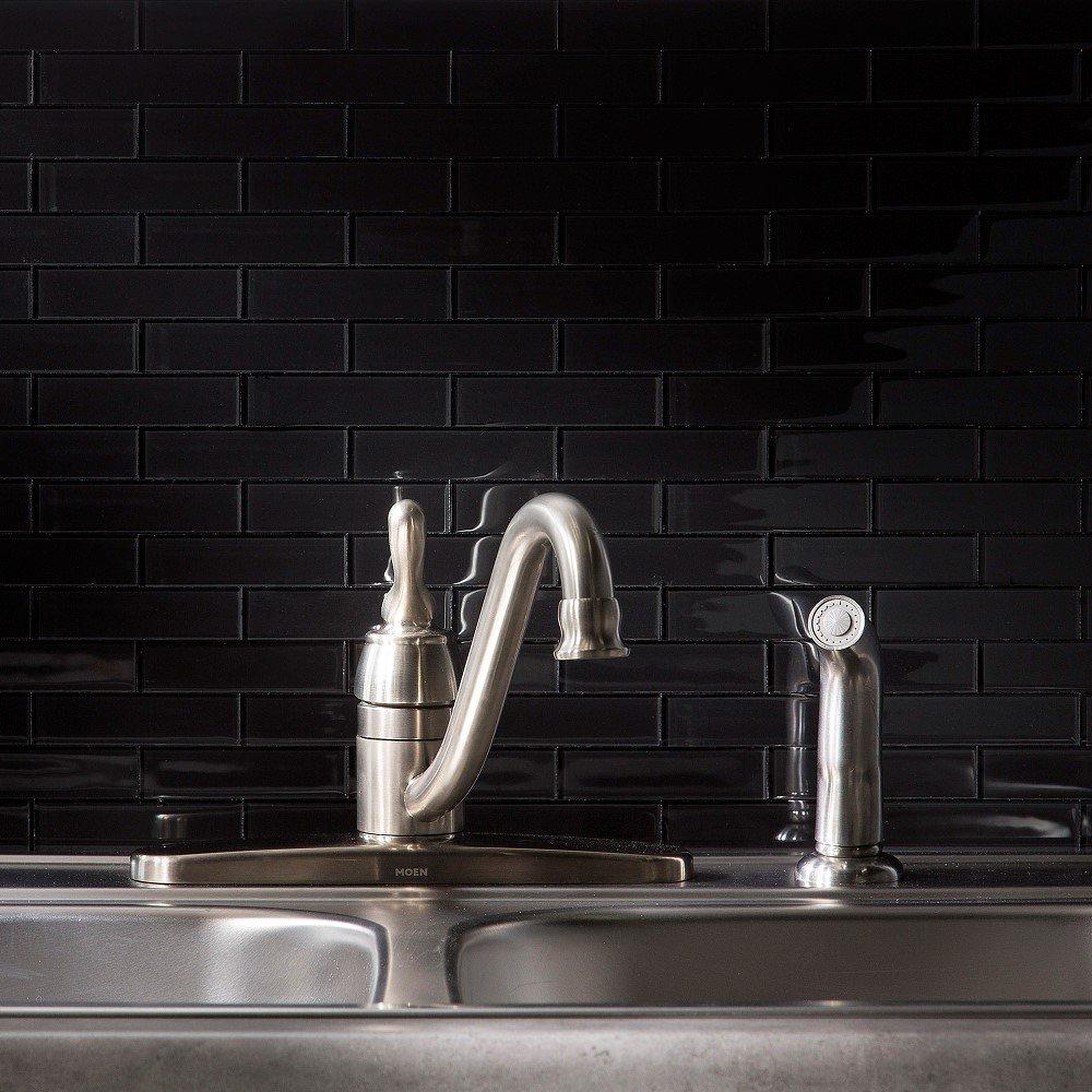 Aspect Peel and Stick Backsplash Ebony Glass Backsplash Tile for Kitchen and Bathrooms (8-pack)