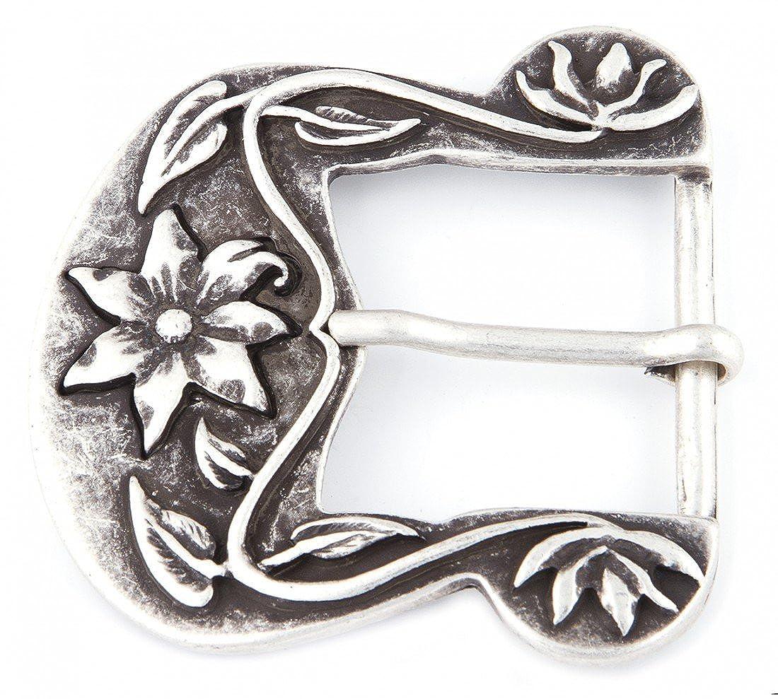 besondere Geschenk Idee Geburtstag Muttertag Flora rund mit Blumenmotiv Goodman Design /® Damen G/ürtelschnalle in silber messing