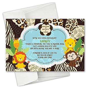 Amazon Jungle Monkey Safari Animals Baby Shower Birthday Party Invitations