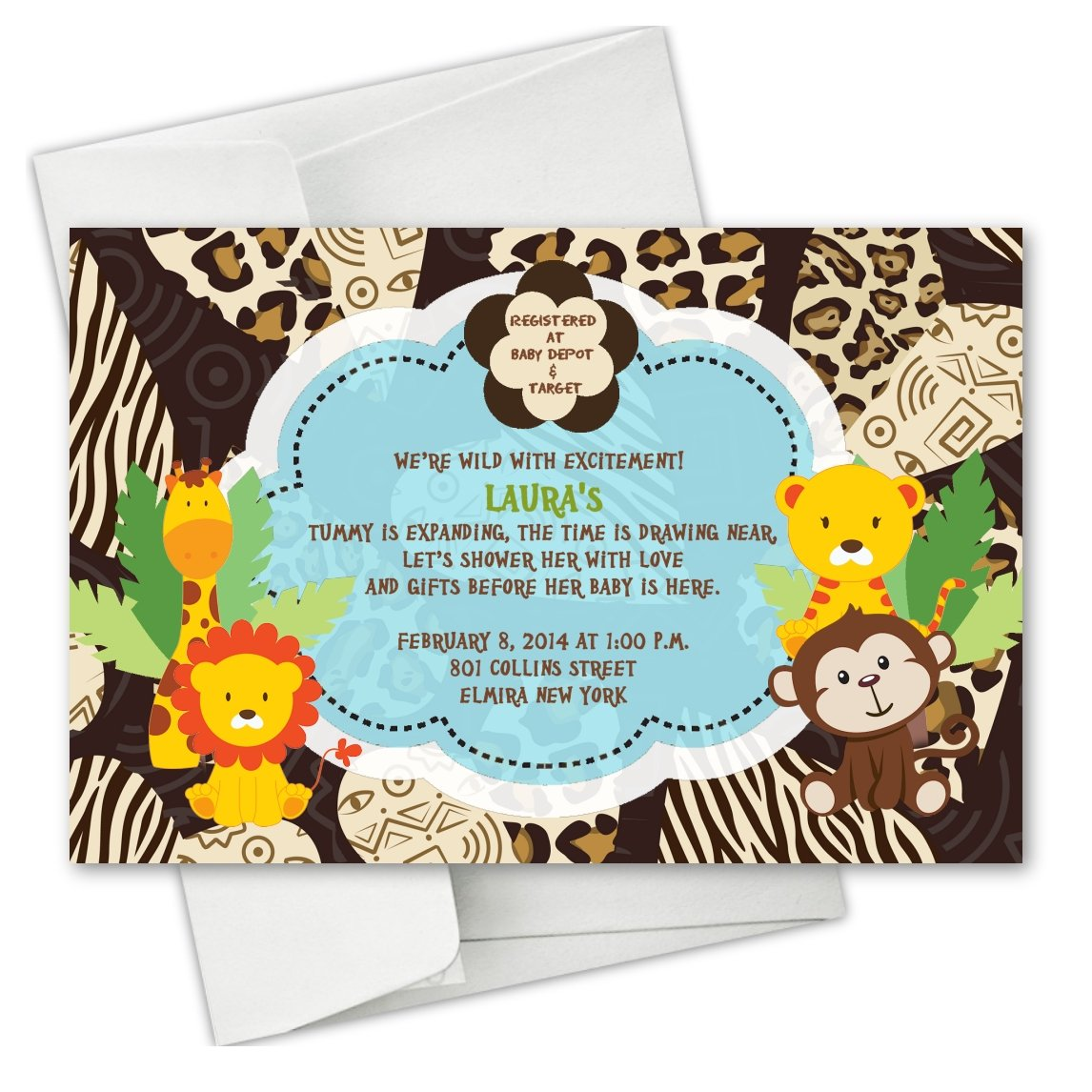 Jungle Monkey Safari Animals Baby Shower Birthday Party Invitations
