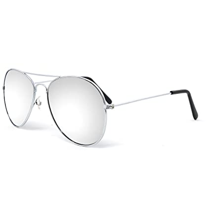 97a0cb85cc57 Silver Mirrored Aviator Sunglasses Shades – 70 s Style Adult Aviators  Costume Glasses - 1 Pair