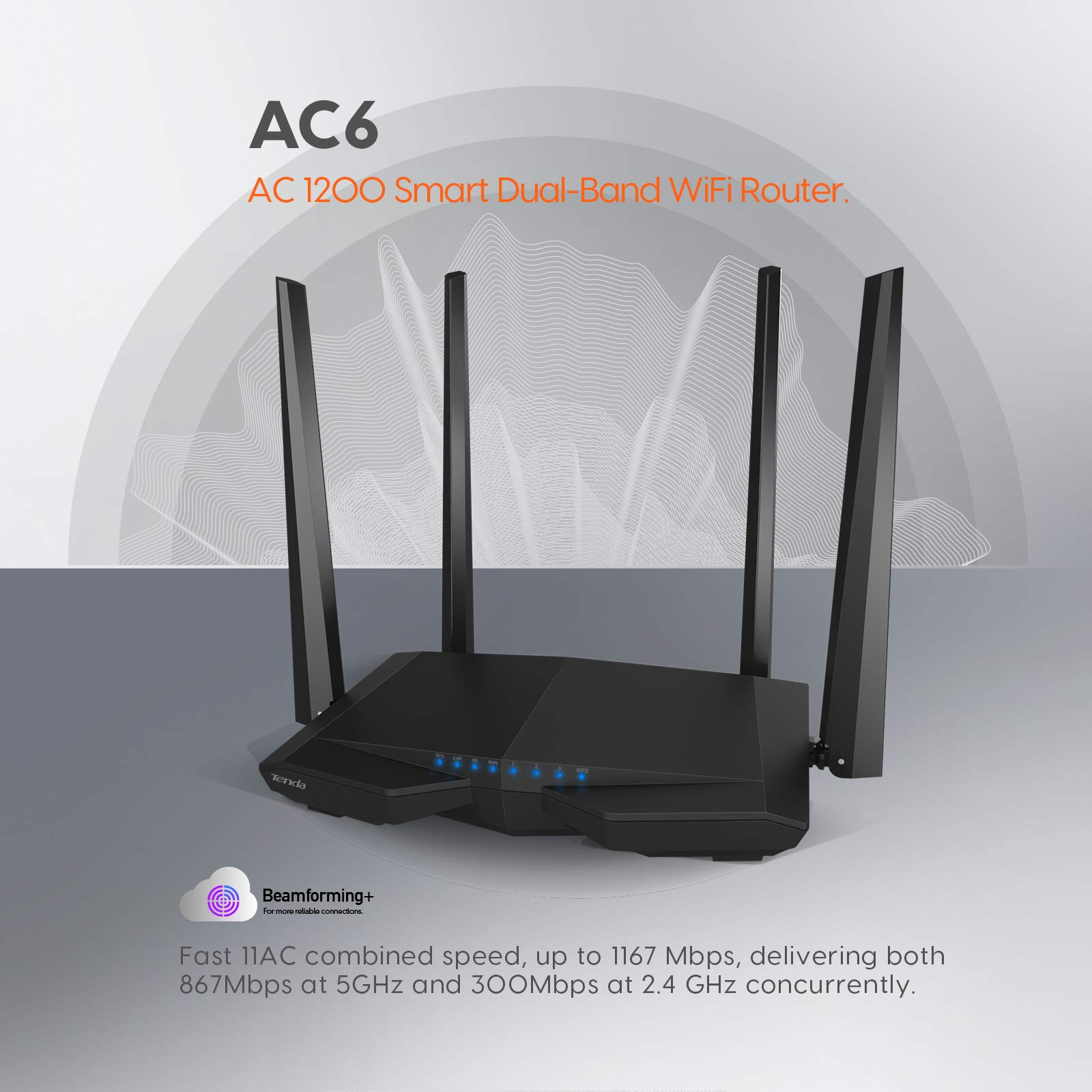 Tenda AC1200 Dual Band WiFi Router High Speed Wireless Internet Router with ...