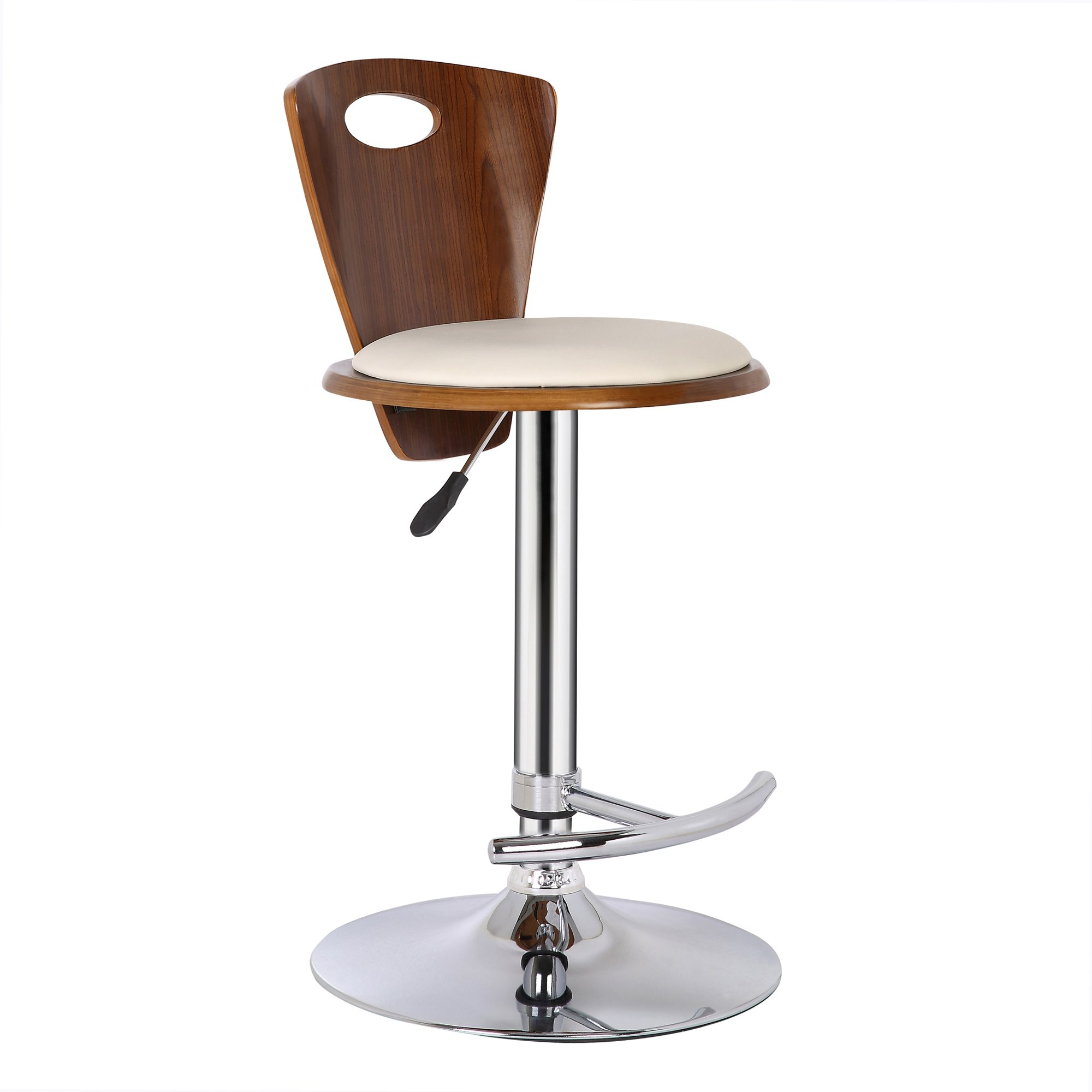 Armen Living LCSEBACRWA Seattle Barstool in Cream Faux Leather, Walnut Wood and Chrome Finish by Armen Living (Image #2)