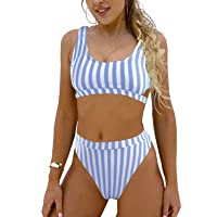 Women's High Waisted Swimsuit Crop Top Cut Out Two Piece Cheeky High Rise Bathing Suit Bikini