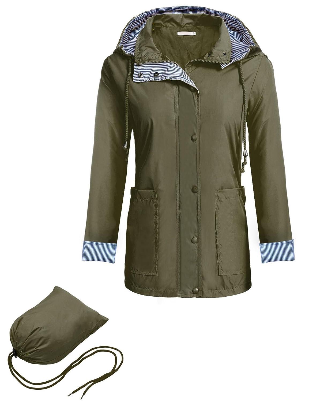 Meaneor Women Packable Hooded Long Sleeve Outdoor Waterproof Raincoat Jacket #MAH011825
