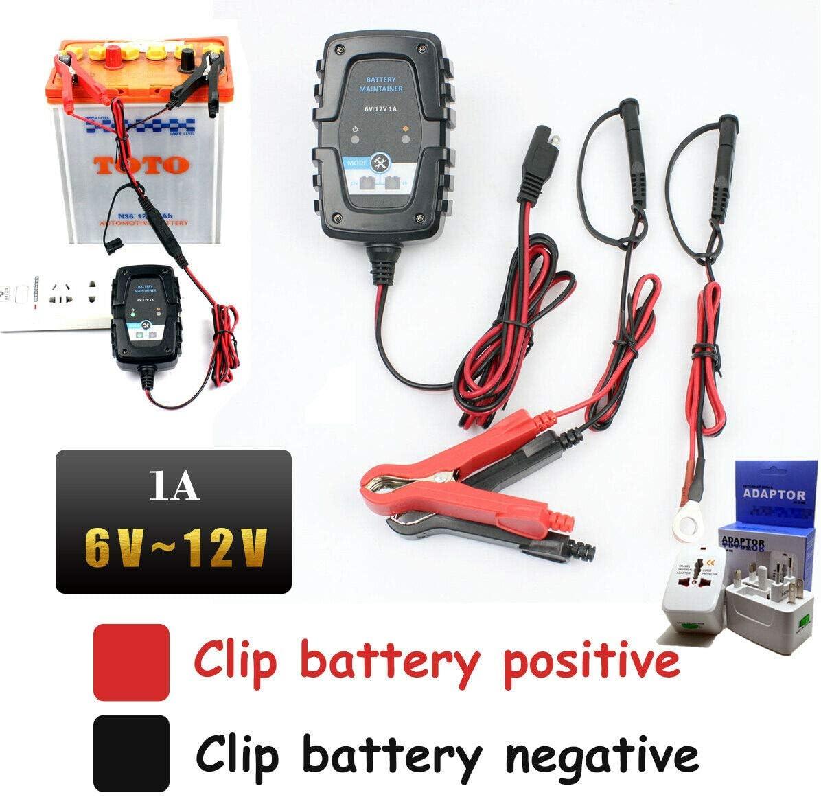 Riloer Cargador y Mantenedor de Batería para Motocicleta, 6V / 12V 1A Cargador Automático de Batería de Automóvil para Bicicleta, Scooter, Motocicleta