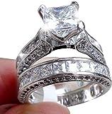 Wedding Ring, PLOT 2-in-1 WWedding Ring, PLOT 2-in-1 Womens Vintage White Diamond Silver Engagement Wedding Band Ring Set, Engagement Ring, Vintage Rings For Women, Wedding Rings, Diamond Ring