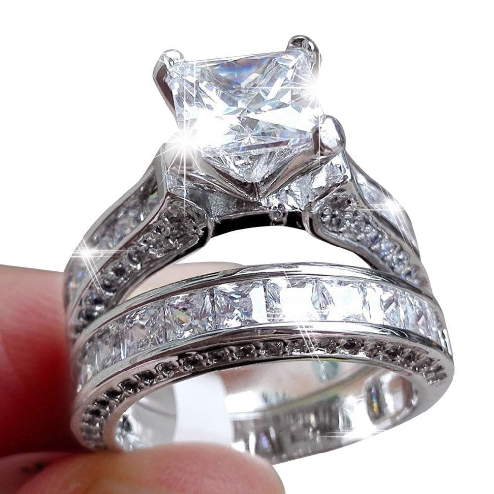 HUAMING 2-in-1 Fashion Lady Zirconia Ring Womens Vintage Diamond Silver Engagement Wedding Band Ring Set Jewelry Gift (Silver, 10)