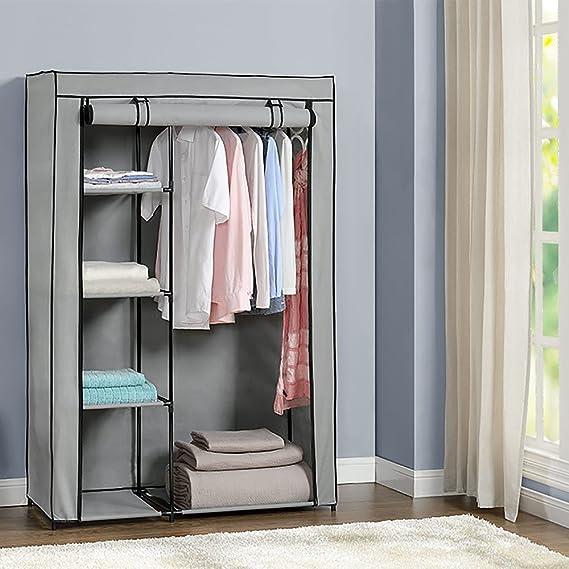 NEU.HOLZ® Wardrobe 160x105cm Grey Fabric Folding Wardrobe Living Room Wardrobe