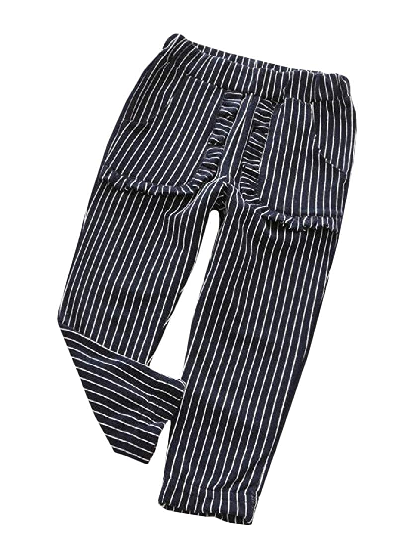 Etecredpow Boy Or Girl Pull On Peplum Casual Stripe Jogger Pants Trousers