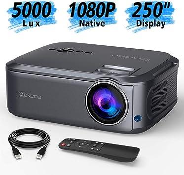 OKCOO Native 1080P proyector de vídeo Full HD, pantalla de 250 ...