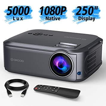 OKCOO Native 1080P proyector de vídeo Full HD, pantalla de 250 ...