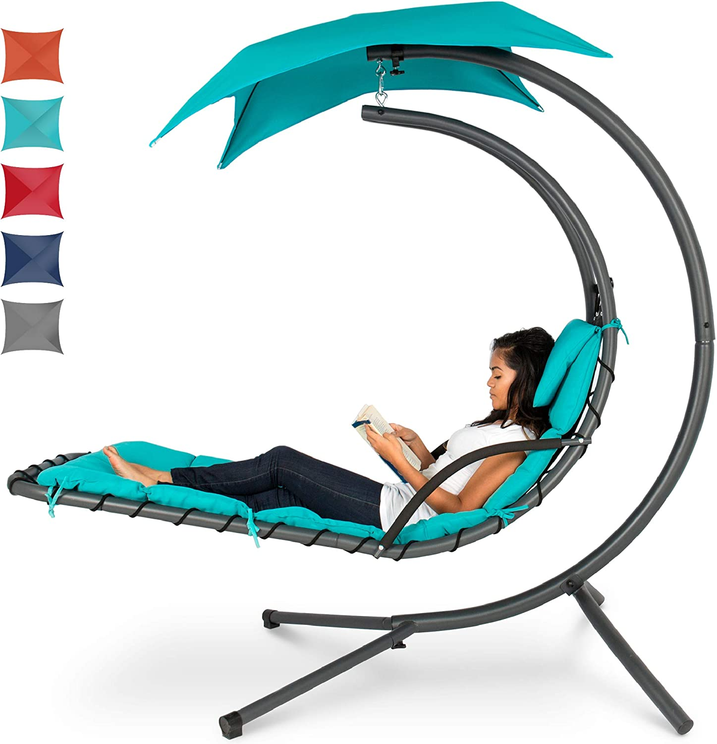 Best Choice Products Outdoor Hanging Curved Steel Chaise Lounge Chair Swing w/Built-in Pillow and Removable Canopy, Teal: Garden & Outdoor