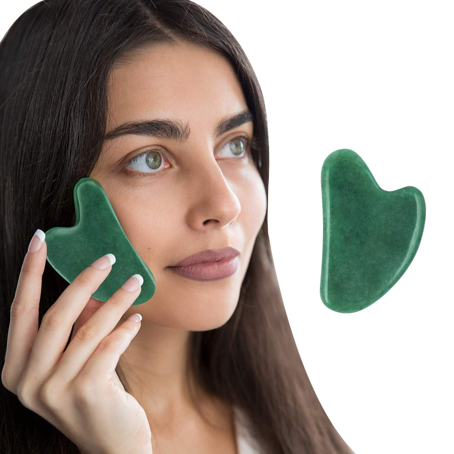 Peora Aikon Green Jade Gua Sha Stone Handcrafted Natural Himalayan Healing  Stone Gua Sha Face Massage Tool for Stress Relief and Anti-Aging Scraping  Facial Massager for Acupuncture Trigger Point Therapy : Amazon.in: