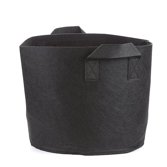 Pacchetto di 5 T4U 5-Gallon Crescere Borse Tessuto Tessuto Borse di Piantatura Pannelli di Aerazione Soft-Sided Contenitori con Maniglie Robuste Nero