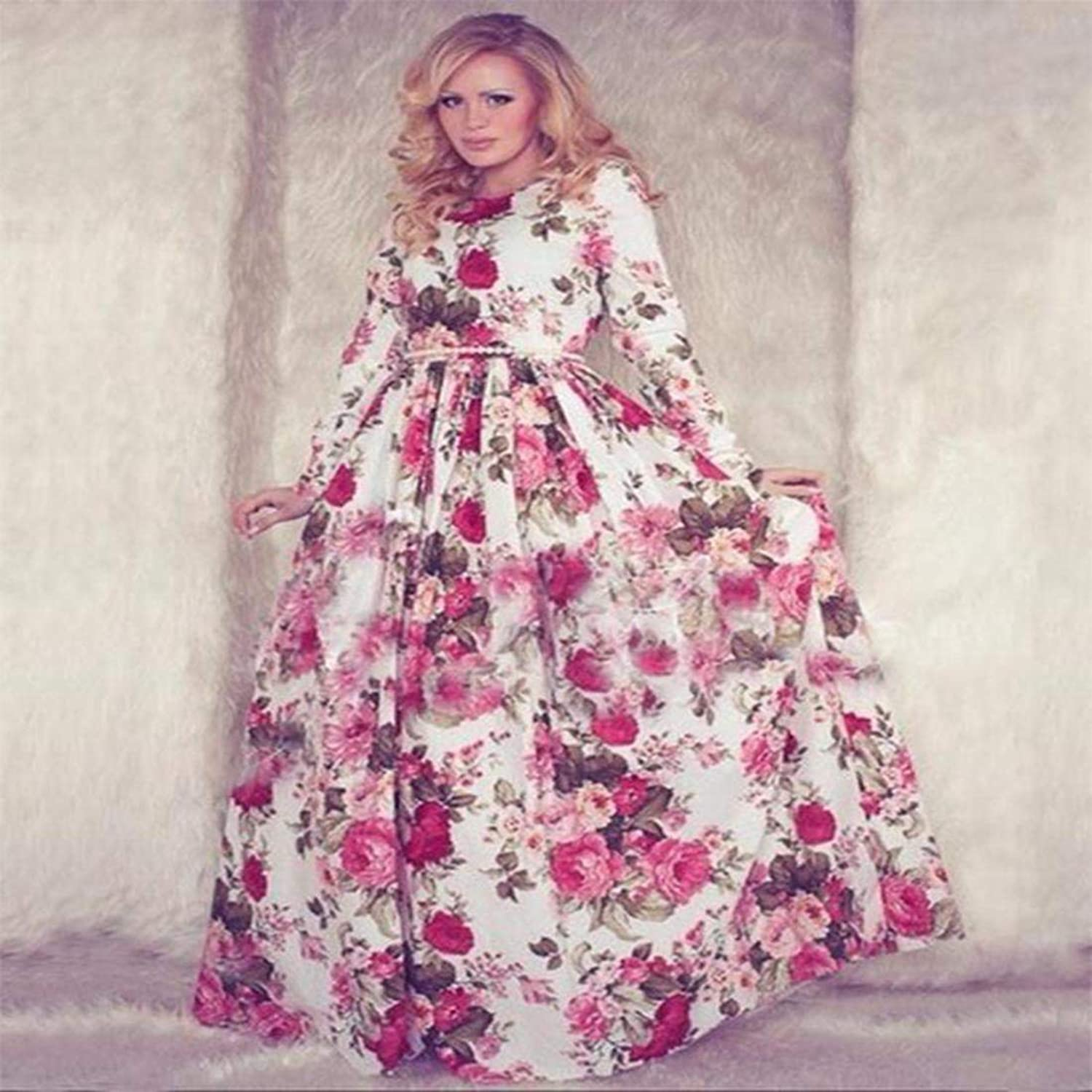 Zeagoo® Womens Casual Floral Printed Long Sleeve Maxi Long Party ...