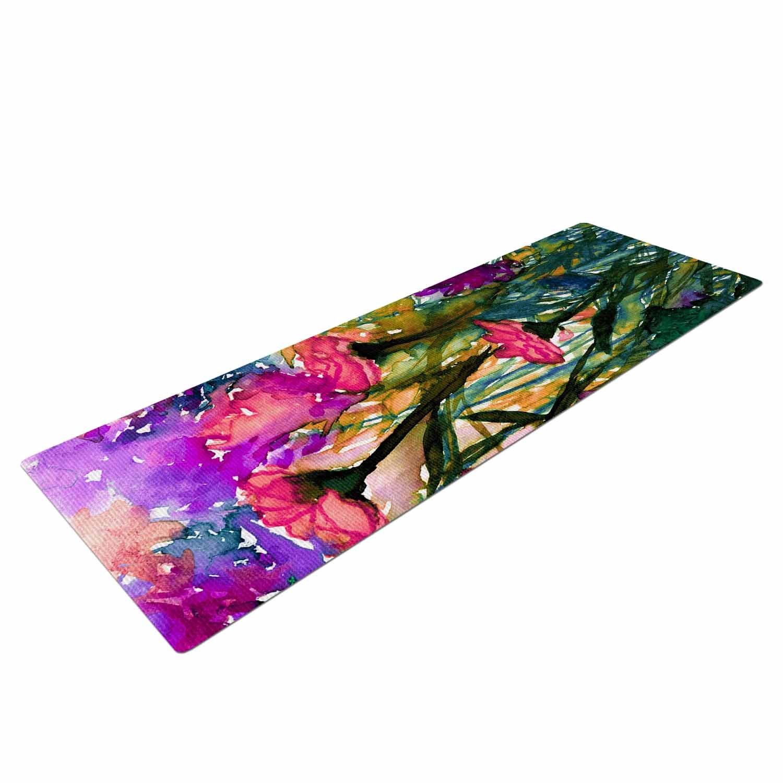 KESS InHouse Ebi Emporium floral Insurgence 3 Green Pink Yoga Mat 72 X 24 72 X 24 KESS Global Inc JD1298AYM01