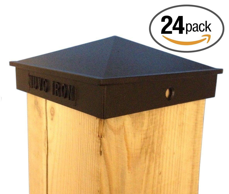 Nuvo Iron Decorative Pyramid Aluminium Post Cap for 5.5'' x 5.5'' Posts - Black [24 PACK]