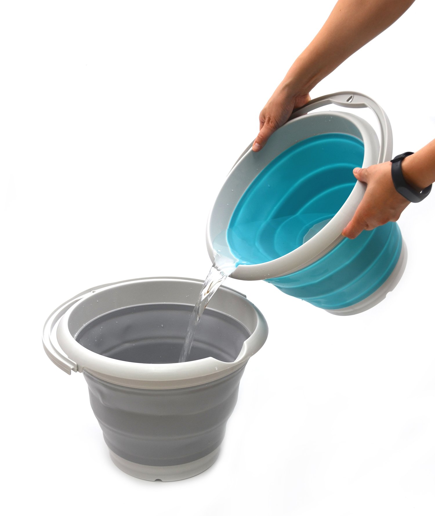 SAMMART 10L (2.6 Gallon) Collapsible Plastic Bucket - Foldable Round Tub - Portable Fishing Water Pail - Space Saving Outdoor Waterpot, size 33cm dia (1, Bright Blue) by SAMMART (Image #5)