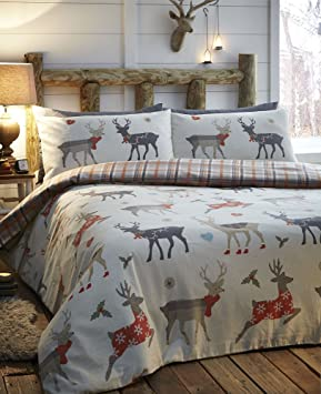 Christmas Bedding Warm Cosy Brushed Cotton Flannelette Duvet Cover Sets Double