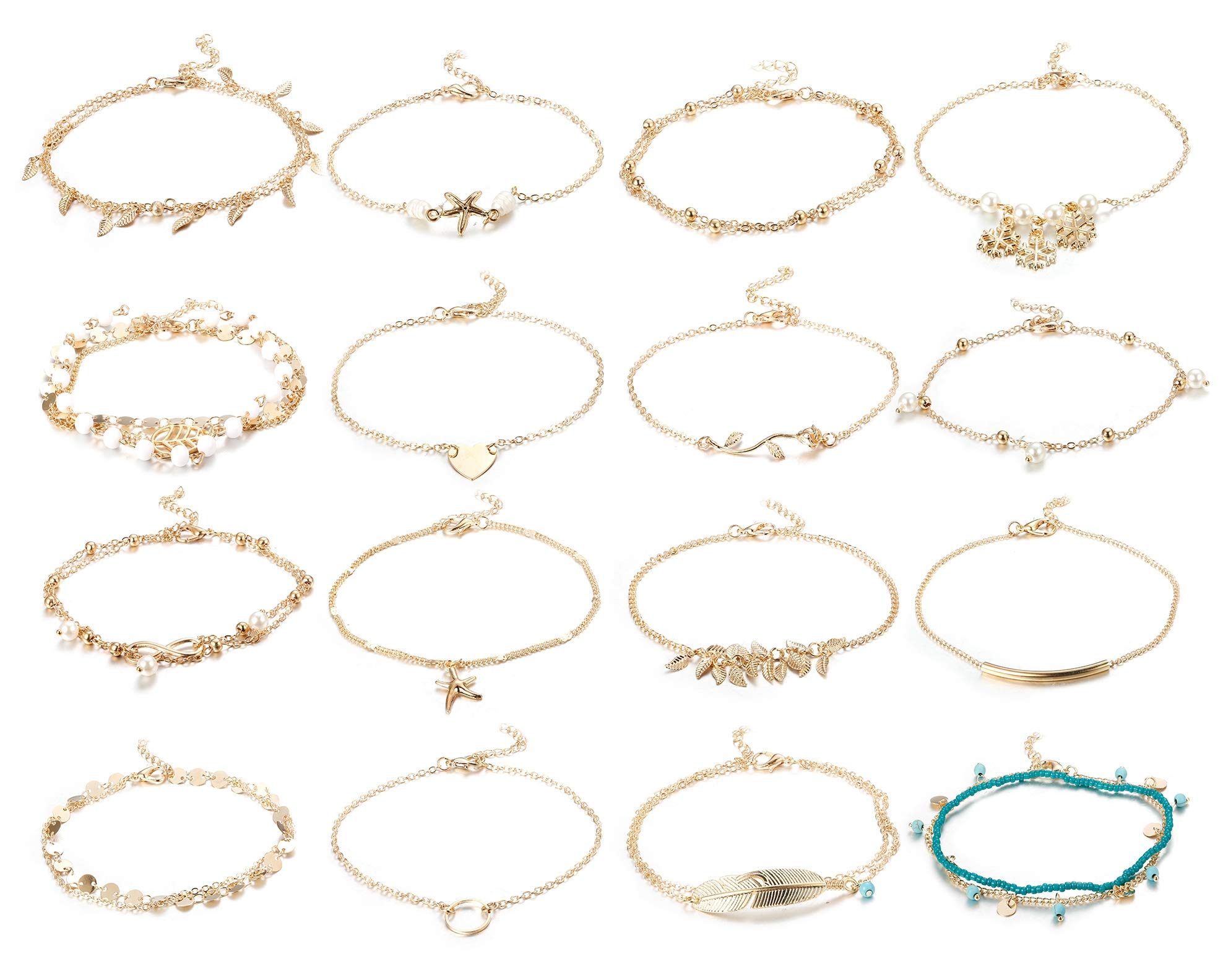 Finrezio 16 Pcs Anklets for Women Gold Silver Plated Ankle Bracelets Beach Cute Sexy Charm Foot Jewelry for Teen Girls Adjustable