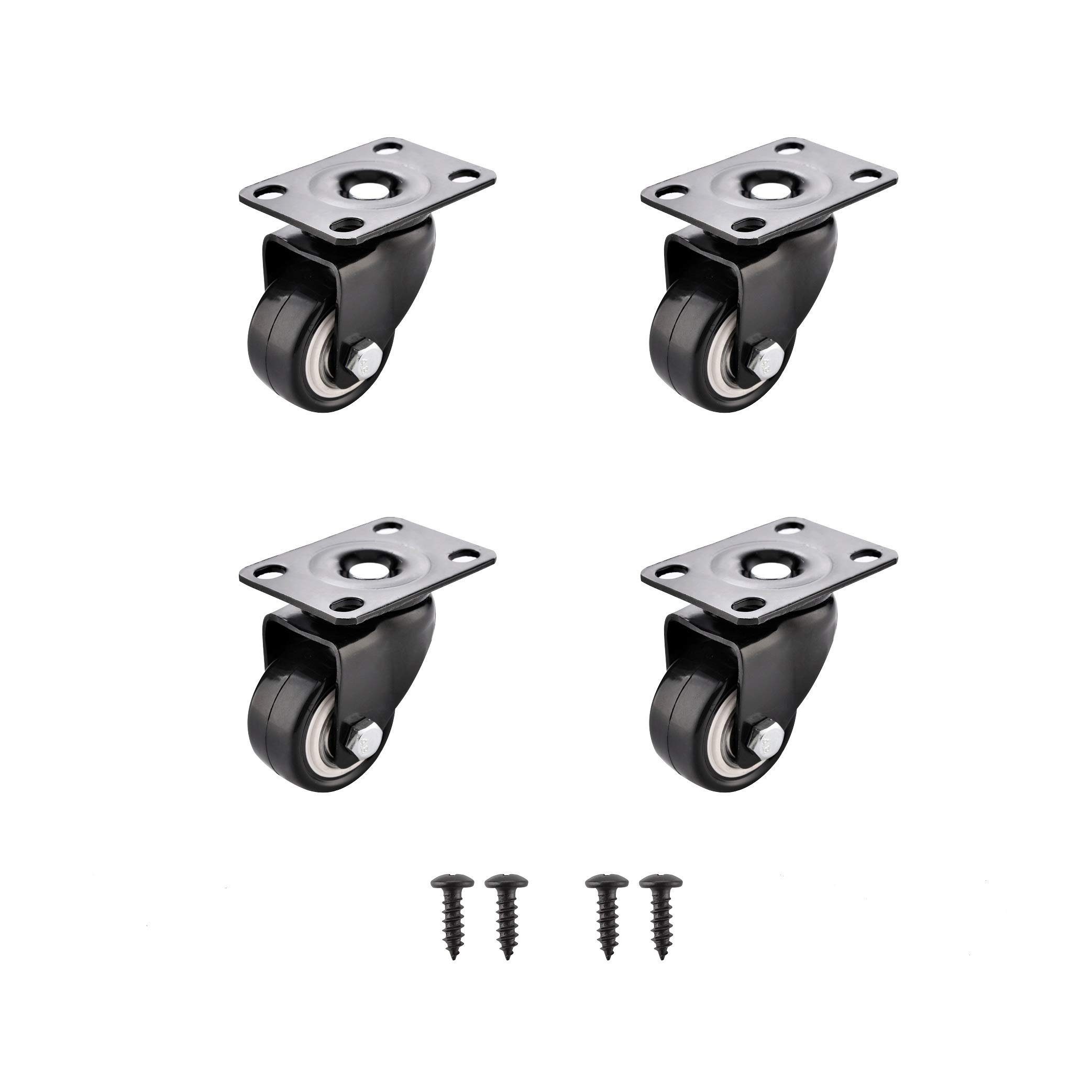 SungMi 4 Pack 1.5'' Heavy Duty Caster Wheels Polyurethane PU Swivel Casters with 360 Degree Top Plate 310lb Total Capacity for Set of 4 Black (4 Without Brakes) Screws Included SM-AMS-220004