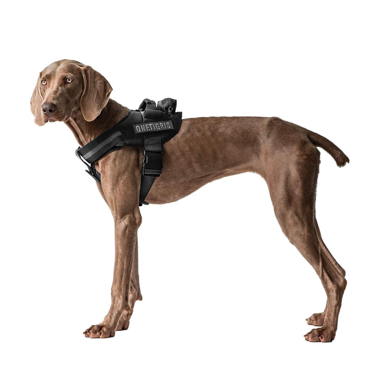 OneTigris MAD Hound Rugged K9 Vest Harness for Medium & Large Dog (Black, Large)