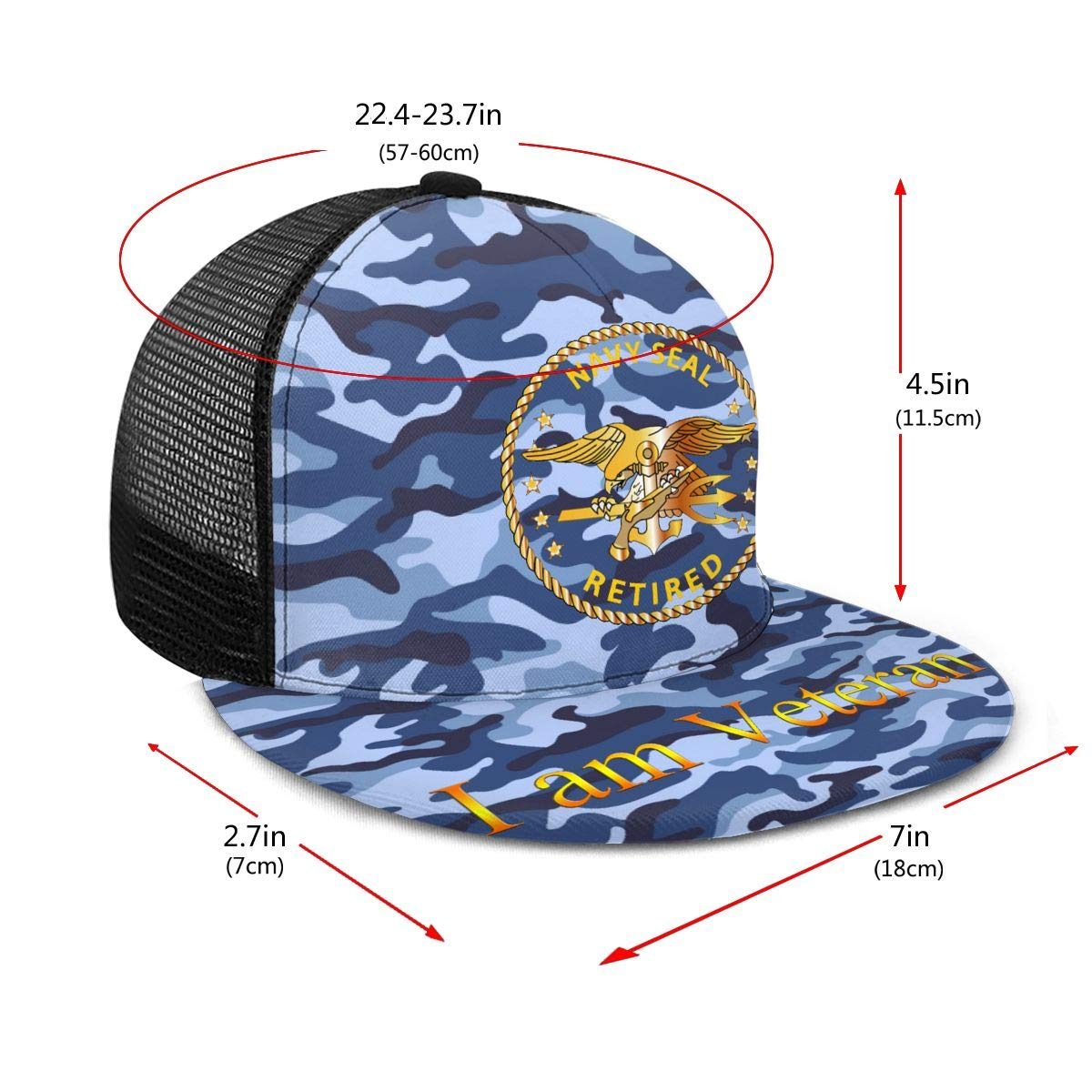 Navy Seal Retired Classic Grid Cap Flat Along Baseball Hats Snapback Men Women Cap Adjustable