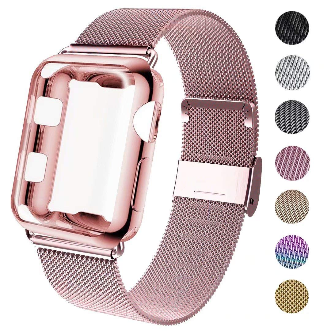 GBPOOT Compatible for Apple Watch Band 38mm 40mm 42mm 44mm with Screen Protector Case, Sports Wristband Strap Replacement Band with Protective Case for Iwatch Series 4/3/2/1,38mm,Rose Gold by GBPOOT