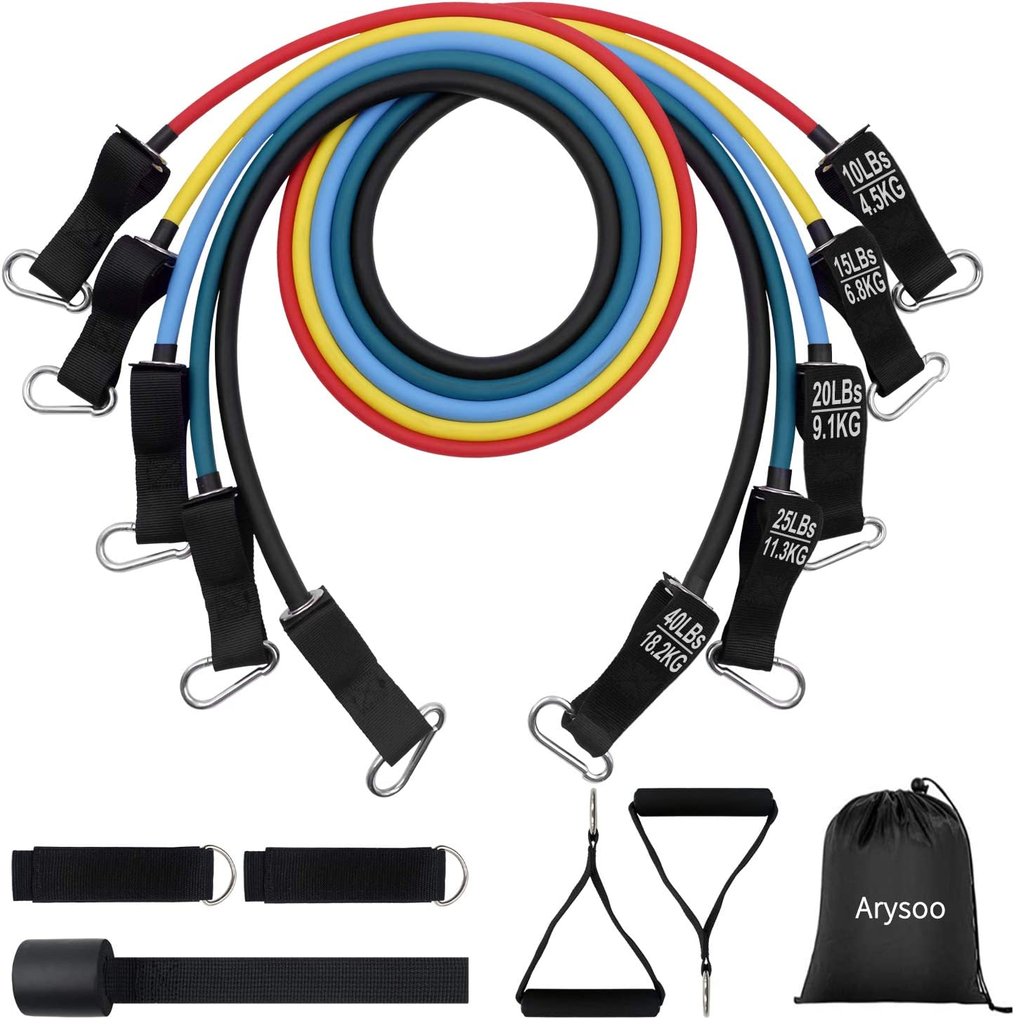 Arysoo 110LB Resistance Bands Set with Handles, Ankle Straps, Door Anchor and Workout Guide Exercise Bands for Men Women Resistance Training, Home Workouts