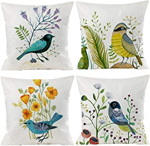 Bird Decorative Pillow Covers Autumn Fall Style Throw Pillow Cover Cushion Case Shell Outdoor Fall Set decorative for Car Sofa Bed Couch 18x18 Inch (4 Pack)